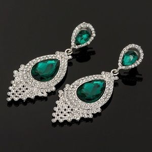 Cherryl's Jewelry - Emerald Green Crystal Chandelier Event Earrings